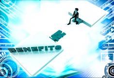 3d man on edge of broken bridge and benefits illustration Royalty Free Stock Photo