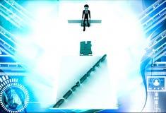 3d man on edge of broken bridge and benefits illustration Royalty Free Stock Photography