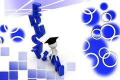3d man education with graduation illustration Stock Photos