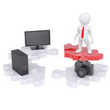 3d man and electronic devices Royalty Free Stock Photo