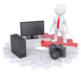 3d man and electronic devices Royalty Free Stock Image