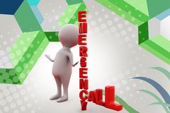 3d man emergency call  illustration Royalty Free Stock Photos
