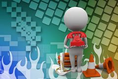 3D Man with Emergency Call / Phone Illustration Stock Image