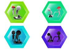 3D Man employee on hand truck concept icon Royalty Free Stock Image