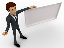 3d man with empty  white board concept Stock Image