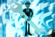 3d man engineer hold wrech illustration Royalty Free Stock Photo