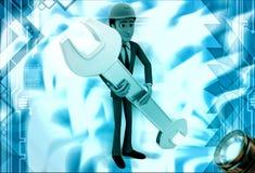 3d man engineer hold wrech illustration Stock Image