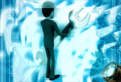 3d man engineer hold wrech illustration Royalty Free Stock Photography