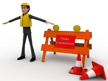 3d man engineer with under construction board and traffic cones concept Royalty Free Stock Photos