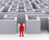 3d man entering maze puzzle. 3d illustration of red man entering complicated endless puzzle maze. 3d rendering of human people character vector illustration