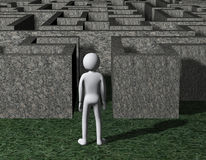 3d man entering rocky maze puzzle. 3d illustration of man entering complicated endless rock maze puzzle on grass.  3d rendering of human people character Royalty Free Stock Photo