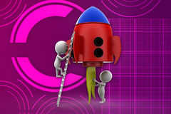 3d man entering in to rocket illustration Stock Photo