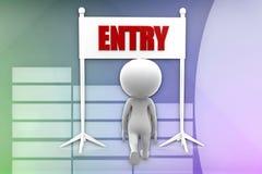 3d man entry illustration Royalty Free Stock Image