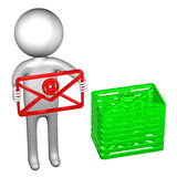 3D man with an envelope Stock Photography