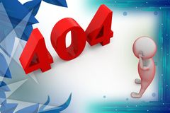 3d man with 404 error  illustration Royalty Free Stock Photos