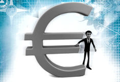 3d man with euro sign illustration Royalty Free Stock Images