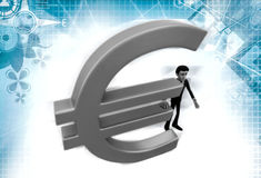 3d man with euro sign illustration Stock Images