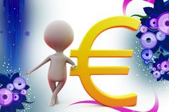 3d man with euro symbol  illustration Stock Images