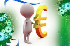 3d man with euro symbol  illustration Stock Photo