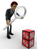 3d man examine red percentage cube magnifying glass concept Royalty Free Stock Image