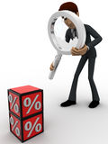 3d man examine red percentage cube magnifying glass concept Royalty Free Stock Photography