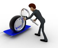 3d man examine tire concept Royalty Free Stock Photo