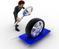 3d man examine tire concept Stock Image
