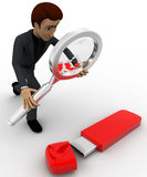3d man examine usb pendrive using magnifying glass concept Stock Photo
