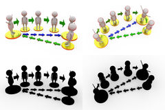 3d man exchange paths concept collections with alpha and shadow channel Stock Image