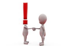 3d man exclamation handshake concept Royalty Free Stock Photo