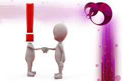 3d man exclamation and  handshake illustration Stock Photo