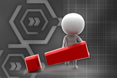 3d man exclamation illustration Royalty Free Stock Images