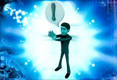 3d man with exclamation mark in chat bubble illustration Royalty Free Stock Photo