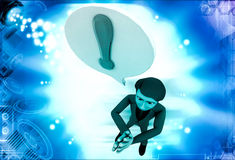 3d man with exclamation mark in chat bubble illustration Royalty Free Stock Photos