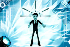 3d man with exclamation mark signs illustration Stock Image
