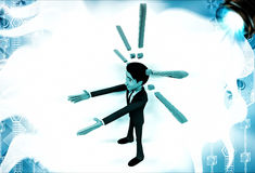 3d man with exclamation mark signs illustration Royalty Free Stock Image