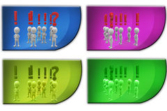 3d Man exclamation and question mark concept icon Royalty Free Stock Photo