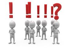 3d man exclamation and question mark concept Stock Images