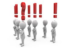 3d man exclamation and question mark concept Royalty Free Stock Photography