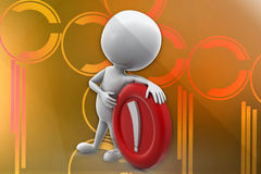 3d man with exclamation sign illustration Stock Image