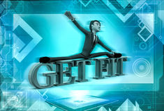 3d man exercise on get fit text  illustration Stock Image