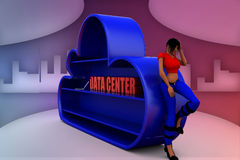 3d man explaining about data center illustration Royalty Free Stock Photo