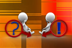 3d Man Explains one man - the other do not understand illustration Royalty Free Stock Photography