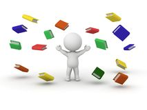 3D Man and Explosion of Books. A 3d man and many books flying around him Royalty Free Stock Photography