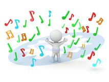 3D Man and Explosion of Musical Notes Royalty Free Stock Photo