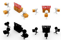 3d man express delivery concept Collections With Alpha And Shadow Channel Stock Image