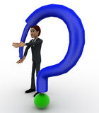 3d man with extra long blue question mark concept Royalty Free Stock Image