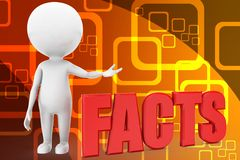 3d man with facts illustration Royalty Free Stock Photo