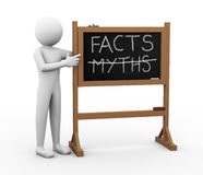 3d man facts and myths Chalkboard illustration Stock Photography