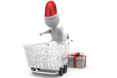 3d man fall in cart concept Stock Images